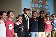 Flower Mound Marcus High School senior tight end Kaden Smith poses for a photo with friends after signing his National Letter of Intent to play football at Stanford University during his high school signing day on February 3, 2016. (Cooper Neill for The New York Times)
