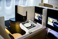 ABU DHABI, UAE - FEBRUARY 8, 2015: The new business studio of the A380. Etihad Airways launched the new aircraft in December 2014.