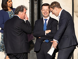 © Licensed to London News Pictures. 22/05/2019. London, UK. Oliver Letwin (L) rubs his nose as he talks with Communities Secretary James Brokenshire (C) and fellow Conservative minister Tobias Ellwood at Parliament. Photo credit: Peter Macdiarmid/LNP
