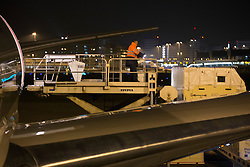 Flying stalls being lifted into the airplane<br /> Departure of the horses to the World Cup Finals in Las Vegas from Schiphol - Amsterdam 2015.<br />  © Hippo Foto - Dirk Caremans