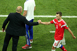 July 7, 2018 - Sochi, Russia - July 07, 2018, Sochi, FIFA World Cup 2018, the playoff round. 1/4 finals of the World Cup. Football match Russia - Croatia at the stadium Fisht. Stanislav Cherchesov. Head coach of the Russian national football team Stanislav Cherchesov. Denis Cheryshev  (Credit Image: © Russian Look via ZUMA Wire)