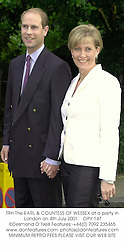 TRH The EARL & COUNTESS OF WESSEX at a party in London on 4th July 2001.<br />OPY 147