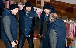 Miha Zvizej, Matjaz Brumen, Luka Zvizej and Radivoj Stanic of Slovenian Handball Men National Team when they get new clothes of Sportina Group for the EHF European Championship EURO 2012 in Serbia, on January 11, 2011, in Zrece, Slovenia. (Photo by Vid Ponikvar / Sportida)