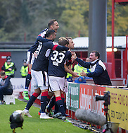 Dundee&rsquo;s Paul McGowan is congratulated after scoring the winner - Hamilton v Dundee in the Ladbrokes Scottish Premiership at Superseal stadium, Hamilton. Photo: David Young<br /> <br />  - &copy; David Young - www.davidyoungphoto.co.uk - email: davidyoungphoto@gmail.com
