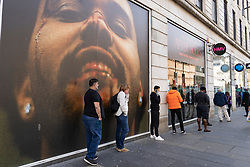Glasgow, Scotland, UK. 12 June 2020. View of people queuing to enter Barclays Bank on Argyll Street in Glasgow city centre. Although shops can reopen in England next week , in Scotland the lockdown is not being relaxed so quickly with several more weeks of restrictions to go. Shops and businesses remain closed and streets are very quiet.  Iain Masterton/Alamy Live News