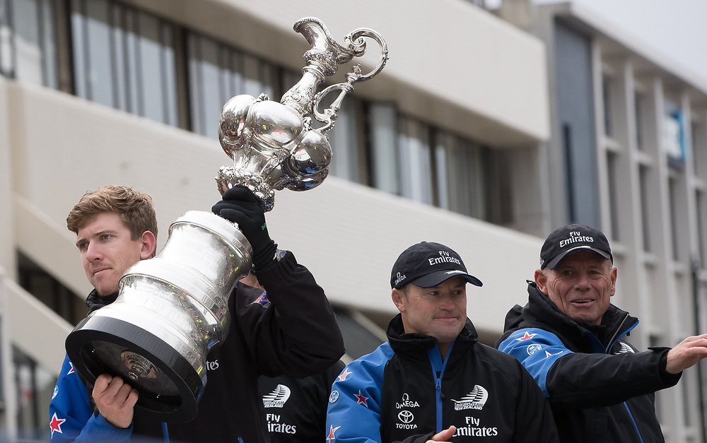 Helmsman Peter Burling, left, skipper Glenn Ashby, centre, and CEO Grant during Emirates Team New Zealand's Americas Cup victory parade in Dunedin, New Zealand, Thursday, July 13, 2017. Credit:SNPA / Adam Binns ** NO ARCHIVING**