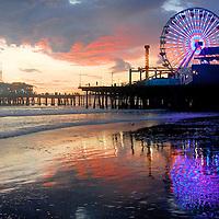 Santa Monica Pier amid the sunset on Wednesday, Sept 29, 2010.