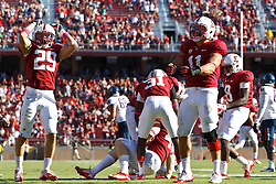 PALO ALTO, CA - OCTOBER 06: Safety Ed Reynolds #29 of the Stanford Cardinal and linebacker Shayne Skov #11 celebrate after linebacker Chase Thomas #44 (bottom) intercepted a pass against the Arizona Wildcats during overtime at Stanford Stadium on October 6, 2012 in Palo Alto, California. The Stanford Cardinal defeated the Arizona Wildcats 54-48 in overtime. (Photo by Jason O. Watson/Getty Images) *** Local Caption *** Ed Reynolds; Shayne Skov; Chase Thomas