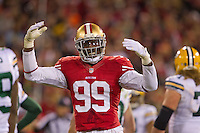 12 January 2013: Linebacker (99) Aldon Smith of the San Francisco 49ers against the Green Bay Packers during the second half of the 49ers 45-31 victory over the Packers in an NFL Divisional Playoff Game at Candlestick Park in San Francisco, CA.