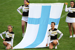 27.07.2010, Wetzlar Stadion, Wetzlar, GER, Football EM 2010, Team Austria vs Team Finland, im Bild Cheerleader mit finischer Fahne,  EXPA Pictures © 2010, PhotoCredit: EXPA/ T. Haumer