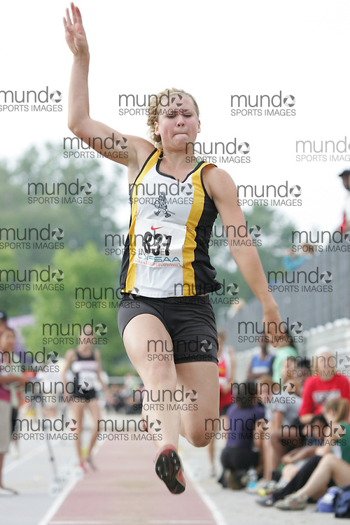 (London, Ontario}---03 June 2010) Kristin Bujnowski of Holy Cross - Strathroy competing in the senior girls long jump at the 2010 OFSAA Ontario High School Track and Field Championships. Photograph copyright Sean Burges / Mundo Sport Images, 2010.