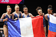 Coline Devillard, Marine Boyer, Melanie De Jesus Dos Santos, Lorette Charpy and Juliette Bossu (FRANCE) silver medal of the women's team competition during the European Championships Glasgow 2018, Women's Artistic Gymnastics , Team Final at The SSE Hydro in Glasgow, Great Britain, Day 3, on August 4, 2018 - Photo Laurent Lairys / ProSportsImages / DPPI