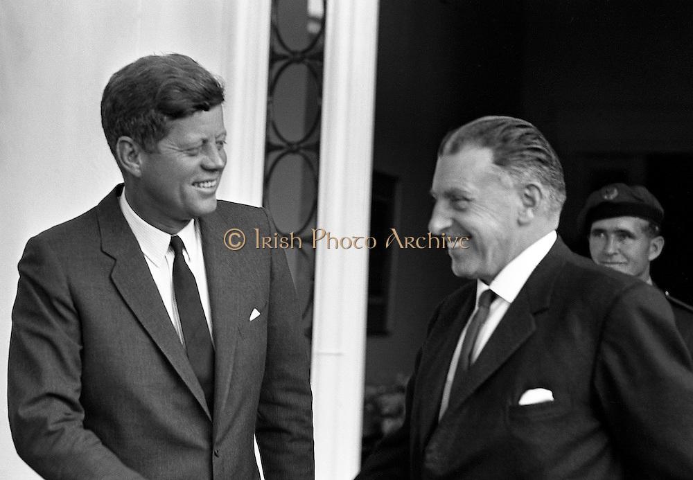 27/06/1963 - President John F. Kennedy leaving the U.S. Embassy in Dublin after a meeting with Taoiseach Seán Lemass.
