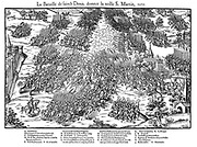 French Religious Wars 1562-1598 Battle of St Denis, 10 November 1567, between Huguenots under Louis, Prince de Conde (1530-1569) and the royal army under Anne de Montmorency (1493-1567) who was mortally wounded in the battle. Huguenots defeated.  Engraving by Jacques Tortorel (fl1568-1590) and Jean-Jacques Perrissin (c1536-1617) from their series on the Huguenot Wars, c1570.