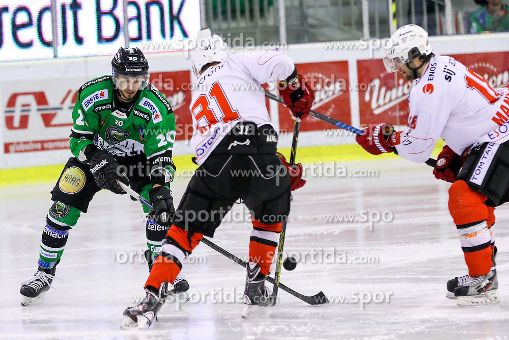 Saso Rajsar of Jesenice and Gregor Koblar of Olimpija during ice hockey game between HDD Telemach Olimpija and SIJ Acroni Jesenice in 3rd leg of Finals of Slovenian National Championship 2015, on April 13, 2015 in Hala Tivoli, Ljubljana, Slovenia. Photo by Matic Klansek Velej / Sportida