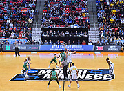 SAN DIEGO, CA - MARCH 18:  The West Virginia Mountaineers and Marshall Thundering Herd tip off during a second round game of the Men's NCAA Basketball Tournament at Viejas Arena in San Diego, California.  (Photo by Sam Wasson)