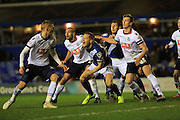 Darren Pratley, Michael Morrison, Rob Holding during the Sky Bet Championship match between Birmingham City and Bolton Wanderers at St Andrews, Birmingham, England on 23 February 2016. Photo by Daniel Youngs.