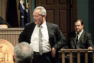 Geoff Burkman (left) and Timothy Behnken during a dress rehearsal of A Case of Libel at the Dayton Theatre Guild in Dayton, Wednesday, May 19, 2010.
