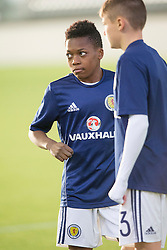 Scotland's Karamoko Dembele warming up. Scotland v Wales, Under 16 Victory Shield, Oriam 1/11/2016.
