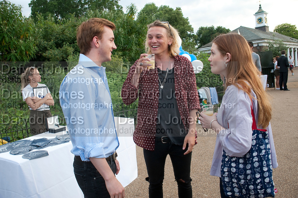 FRANCIS BOULLE; JAMIE CAMPBELL-BOWER; BONNIE WRIGHT;  Chucs Dive & Mountain Shop charity Swim Party: Lido at The Serpentine. London. 4 July 2011. <br /> <br />  , -DO NOT ARCHIVE-© Copyright Photograph by Dafydd Jones. 248 Clapham Rd. London SW9 0PZ. Tel 0207 820 0771. www.dafjones.com.