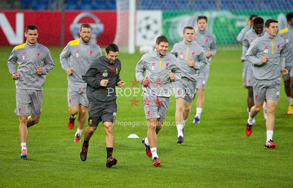 BASEL, SWITZERLAND - Tuesday, September 30, 2014: Liverpool's head of fitness and science Ryland Morgans and captain Steven Gerrard during a training session at the St. Jakob Stadium ahead of the UEFA Champions League Group B match against FC Basel. (Pic by David Rawcliffe/Propaganda)