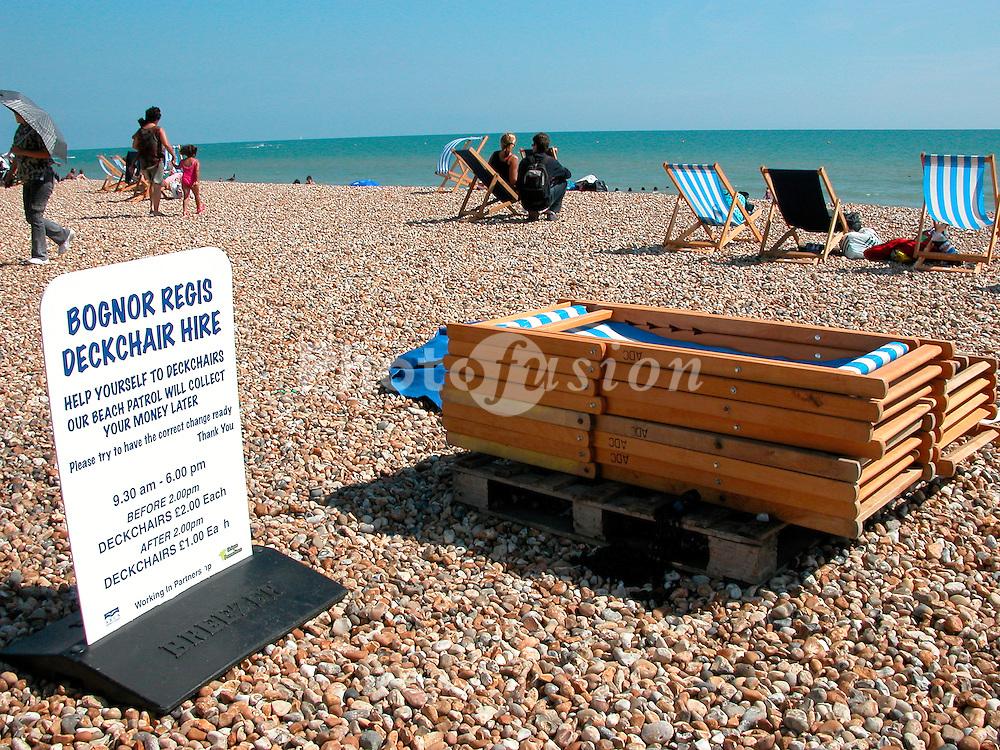 Deckchairs for hire Bognor Regis beach Sussex UK