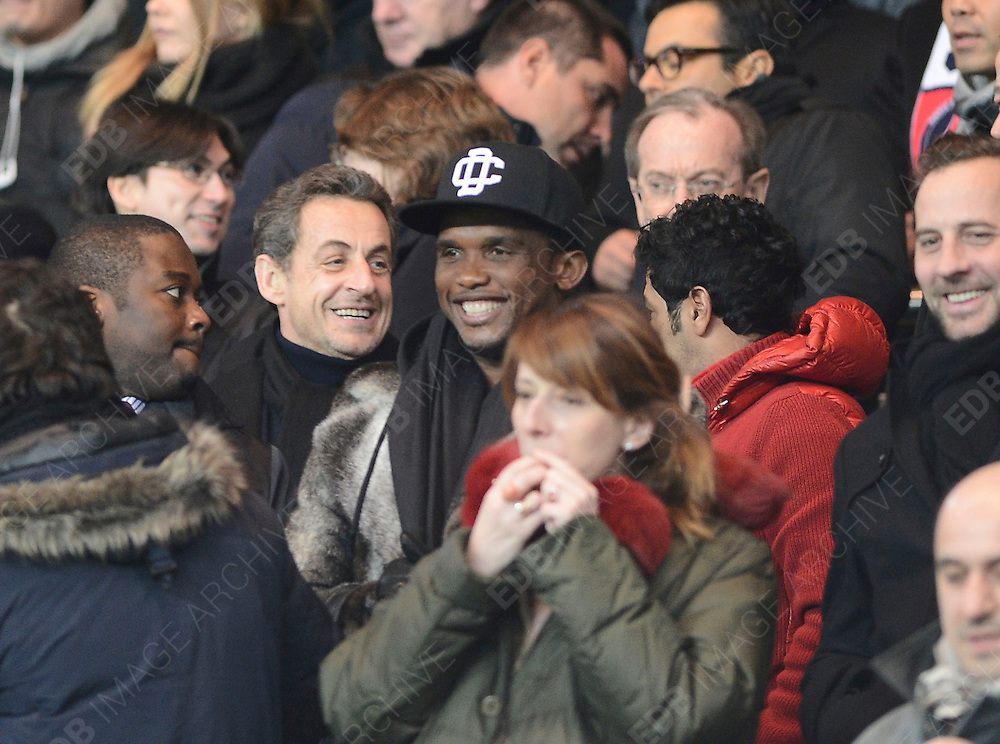 24.FEBRUARY.2012. PARIS<br /> <br /> CELEBRITIES ATTEND FRENCH FIRST DIVISION FOOTBALL MATCH,  PSG V MARSEILLE IN PARIS, FRANCE. <br /> PSG WON 2-0.<br /> <br /> BYLINE: EDBIMAGEARCHIVE.CO.UK<br /> <br /> *THIS IMAGE IS STRICTLY FOR UK NEWSPAPERS AND MAGAZINES ONLY*<br /> *FOR WORLD WIDE SALES AND WEB USE PLEASE CONTACT EDBIMAGEARCHIVE - 0208 954 5968*