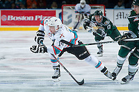KELOWNA, CANADA - JANUARY 08: Rourke Chartier #14 of Kelowna Rockets skates against the Everett Silvertips on January 8, 2016 at Prospera Place in Kelowna, British Columbia, Canada.  (Photo by Marissa Baecker/Shoot the Breeze)  *** Local Caption *** Rourke Chartier;