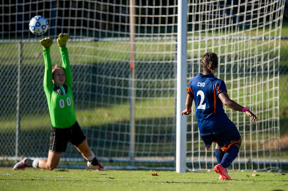 Oct 23, 2013; Morrow, GA, USA; Clayton State women's soccer player Denisha Paskell against Georgia Southwestern at CSU. CSU won 4-0. Photo by Kevin Liles/kevindliles.com