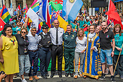 The march is started by Mayor Sadiq Khan, LGBt members of the emergency services, Justin Greening MP and a gay London authority mayor - The annual London Gay Pride march heads from Oxford Circus to Trafalgar Square.