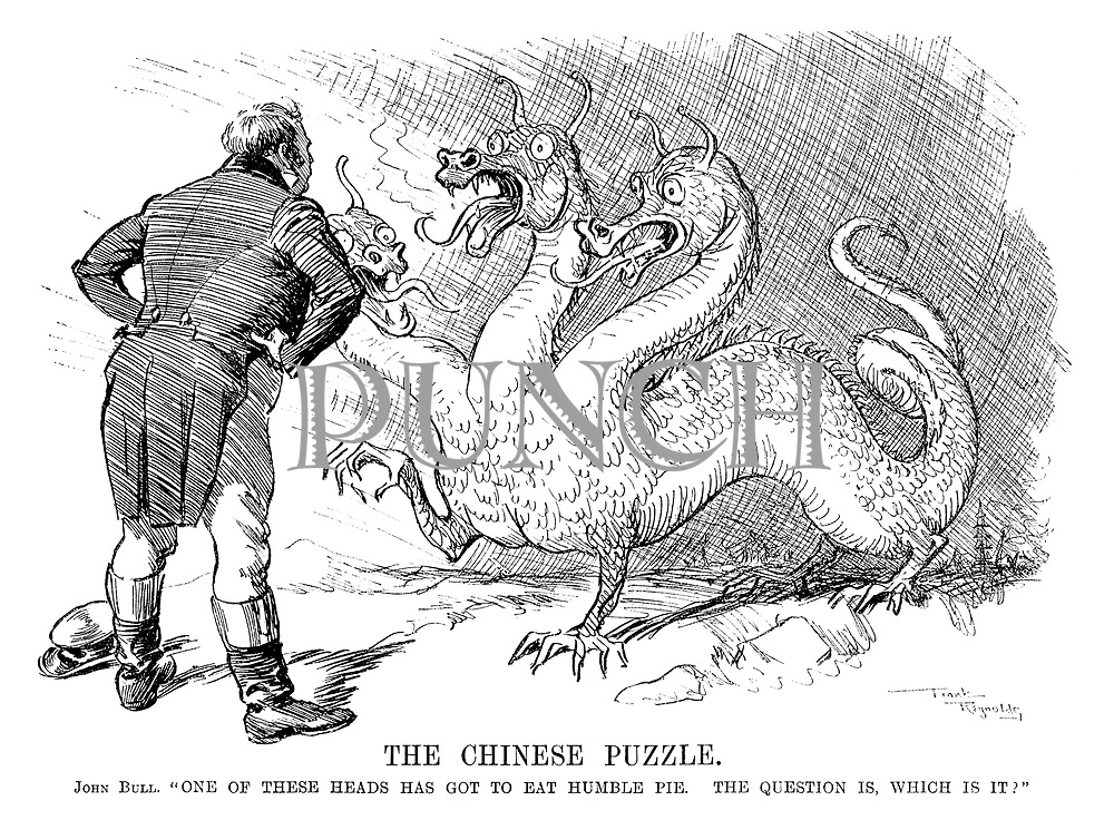 "The Chinese Puzzle. John Bull. ""One of these heads has got to eat humble pie. The question is, which is it?"""