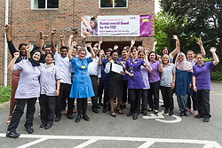Care UK's Franklin House care home in West Drayton, London, has been awarded a Two Years Pressure Prevention Award from North West London NHS Foundation, in collaboration with Hillingdon TVN Team and Hillingdon CCG. Members of the Frankling House team pose for a photograph after receiving the award. London, July 11 2019.