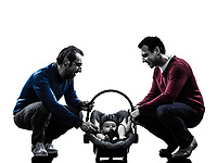 homosexuals parents men family with baby in silhouettes on white background