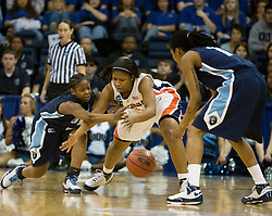 Virginia guard Paulisha Kellum (3) and Old Dominion guard Jazzmin Walters (4) fight for a loose ball.  The #11 ranked / #5 seed Old Dominion Lady Monarchs defeated the #24 ranked / #4 seed Virginia Cavaliers 88-85 in overtime in the second round of the 2008 NCAA Women's Basketball Championship at the Ted Constant Convocation Center in Norfolk, VA on March 25, 2008.