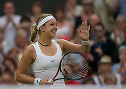 28.06.2011, Wimbledon, London, GBR, WTA Tour, Wimbledon Tennis Championships, im Bild Sabine Lisicki (GER) celebrates after winning the Ladies' Singles Quarter-Final match on day eight of the Wimbledon Lawn Tennis Championships at the All England Lawn Tennis and Croquet Club. EXPA Pictures © 2011, PhotoCredit: EXPA/ Propaganda/ David Rawcliffe +++++ ATTENTION - OUT OF ENGLAND/UK +++++ // SPORTIDA PHOTO AGENCY