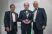 From Left, Larry Starr, Charles W. Beck Jr. and Ron Teplitzky pose after Beck was awarded the Distinguished Service Award during the 2016 Alumni Awards Gala at Ohio University's Baker Center Ballroom on Friday, October 07, 2016.