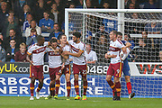 Celebrations as Bradford City midfielder Romain Vincelot  scores a goal during the EFL Sky Bet League 1 match between Peterborough United and Bradford City at London Road, Peterborough, England on 9 September 2017. Photo by Aaron  Lupton.