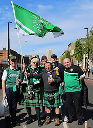 Hibernian Scottish Cup Open Top Bus Edinburgh 14 May 2016; Hibs fans on Leith Walk during the open top bus parade in Edinburgh after winning the Scottish Cup.<br /> <br /> (c) Chris McCluskie | Edinburgh Elite media