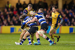 Mitch Eadie of Bristol Rugby is tackled by Max Clark and Tom Ellis of Bath Rugby - Rogan Thomson/JMP - 18/11/2016 - RUGBY UNION - Recreation Ground - Bath, England - Bath Rugby v Bristol Rugby - Aviva Premiership.