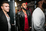Concert after party, with Jason Drulo' massive entourage, dancing, singing and taking his top off, girls come up and twerk, giving away free bottles of champagnes to clubbers,<br /> Jason Drulo Entertaining at Club Liv Manchester,<br /> ©REZAKIO/Exclusivepix Media