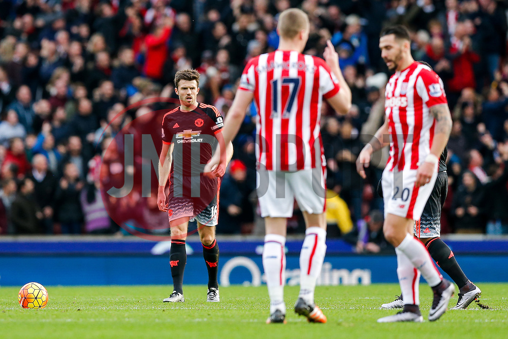 Michael Carrick of Manchester United looks dejected after Stoke City score the opening goal - Mandatory byline: Rogan Thomson/JMP - 26/12/2015 - FOOTBALL - Britannia Stadium - Stoke, England - Stoke City v Manchester United - Barclays Premier League - Boxing Day Fixture.