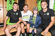 Matchday mascot visits the Forest Green Rovers changing room during the EFL Sky Bet League 2 match between Forest Green Rovers and Grimsby Town FC at the New Lawn, Forest Green, United Kingdom on 17 August 2019.