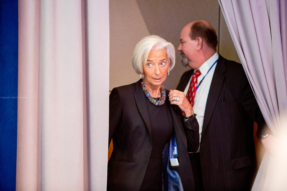 Christine Lagarde, Managing Director in the International Monetary Fund at a press briefing during the IMF Spring meeting in 2014.