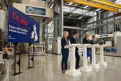 © Licensed to London News Pictures.18/04/2016. Bristol, UK.  National Composites Centre, Emersons Green. Picture of: Secretary of State for Environment, Food and Rural Affairs LIZ TRUSS, Chancellor GEORGE OSBORNE, Secretary of State for Energy and Climate Change AMBER RUDD, and Secretary of State for Work and Pensions STEPHEN CRABB; Treasury Report event re the EU referendum and the cost to UK families of the UK leaving the EU, with Chancellor George Osborne, Secretary of State for Energy and Climate Change Amber Rudd, Secretary of State for Environment, Food and Rural Affairs Liz Truss, and Secretary of State for Work and Pensions Stephen Crabb. Photo credit : Simon Chapman/LNP