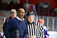 2019-11-27 | Tyringe, Sweden: Tyringe SoSS Joakim Andersson talks with the referee during the game in Hockeyettan between Tyringe SoSs and Hanhals Kings at Tyrs Hov ( Photo by: Henrik Eberlund | Swe Press Photo )<br /> <br /> Keywords: Tyringe, Icehockey, Hockeyettan, Tyrs Hov, Tyringe SoSs, Hanhals Kings, Ishockey, TH191127