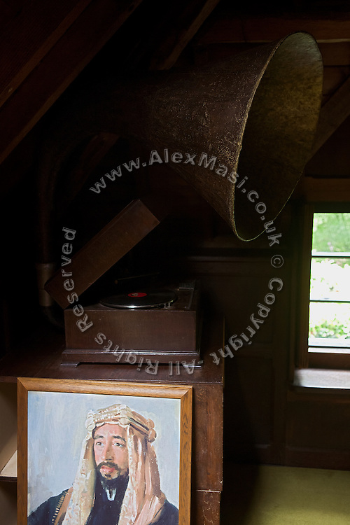 "A gramophone belonging to T. E. Lawrence, (""Lawrence of Arabia"") and still working, is sitting next to a painting inside Clouds Hill, his former home near Wool, Dorset, southwest England."