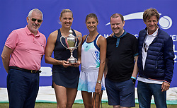 LIVERPOOL, ENGLAND - Sunday, June 23, 2019: Kaia Kanepi (EST) (L) with the Boodles & Dunthorne Trophy and runner-up Corinna Dentoni (ITA) with sponsors xxxx (L) and xxxx (R) and Tournament Director Anders Borg after the Ladies' Final on Day Four of the Liverpool International Tennis Tournament 2019 at the Liverpool Cricket Club. Kanepi beat Dentoni 6-2, 6-2. (Pic by David Rawcliffe/Propaganda)
