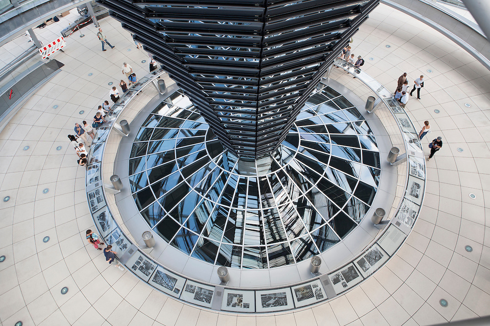 Berlin, Germany, August 2007. The Reichstag cupola - Berlin by the British architect Norman Foster + Partners.