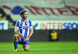 Will Grigg of Wigan Athletic takes a knee - Mandatory by-line: Robbie Stephenson/JMP - 17/01/2018 - FOOTBALL - DW Stadium - Wigan, England - Wigan Athletic v Bournemouth - Emirates FA Cup third round proper