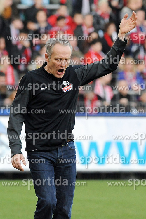 07.03.2015, Schwarzwald Stadion, Freiburg, GER, 1. FBL, SC Freiburg vs SV Werder Bremen, 24. Runde, im Bild Christian Streich (Chef-Trainer SC Freiburg) enttaeuscht, frustriert // during the German Bundesliga 24th round match between SC Freiburg and SV Werder Bremen at the Schwarzwald Stadion in Freiburg, Germany on 2015/03/07. EXPA Pictures &copy; 2015, PhotoCredit: EXPA/ Eibner-Pressefoto/ Laegler<br /> <br /> *****ATTENTION - OUT of GER*****